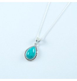 LAVI Sterling Silver Turquoise Drop Pendant