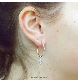 LAVI Silver Hoop Earrings with a charm