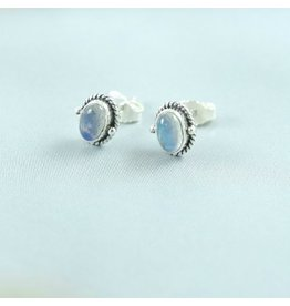 LAVI Oval Moonstone Ear Studs