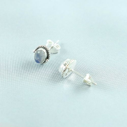 LAVI Sterling Silver Moonstone Ear Studs - Oval