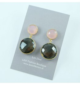 LAVI Smokey Quartz en Rose Quartz Earrings