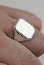 silver plain signet ring