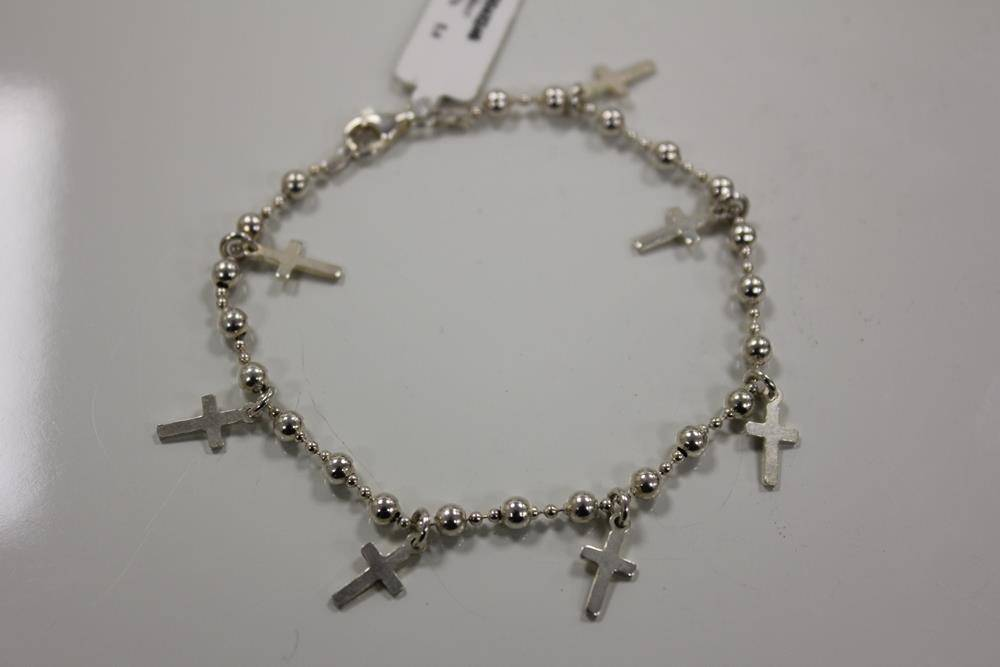 Silver bracelet with crosses