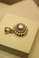 Vintage 14 carat gold pendant with pearl and 0.16ct diamond
