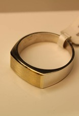 silver with gold signet ring rectangle 16x8mm