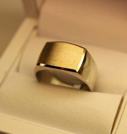 silver with gold signet ring rectangle 16x12mm