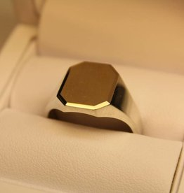 silver with gold signet ring rectangle with cut corners 15x12mm
