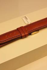 Handmade watch band ECO calfskin cognac with blue stitchings 18/16mm