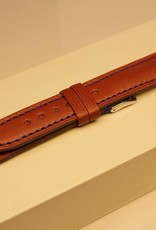 Handmade watch band ECO calfskin cognac with blue stitchings 18/16mm