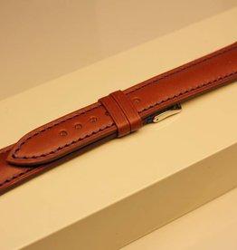 Handgemaakte horlogeband ECO kalfsleder cognac met blauw stiksel 18/16mm staal