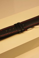 Handmade watch band ECO calfskin black with red stitchings 20/18mm
