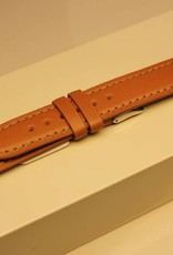Handmade watch band ECO calfskin light brown with cream white stitchings 18/16mm