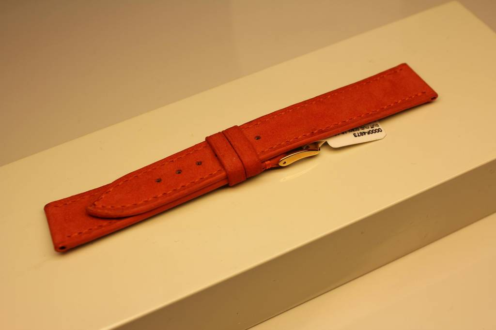 Handmade watch band made from soft buffalo leather orange 18/16mm