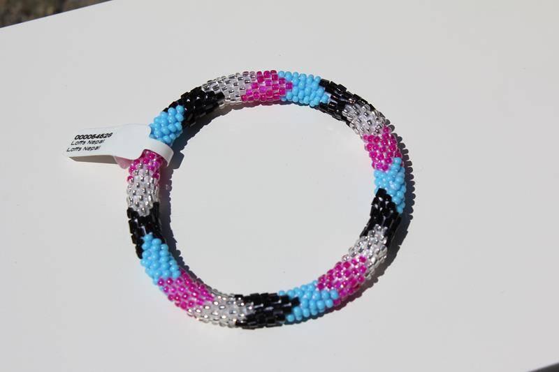 Loffs Nepal Bracelet Silver Pink Blue Black