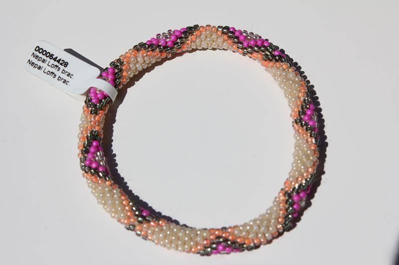 Loffs Loffs Nepal Bracelet white, pink, green serpent pattern