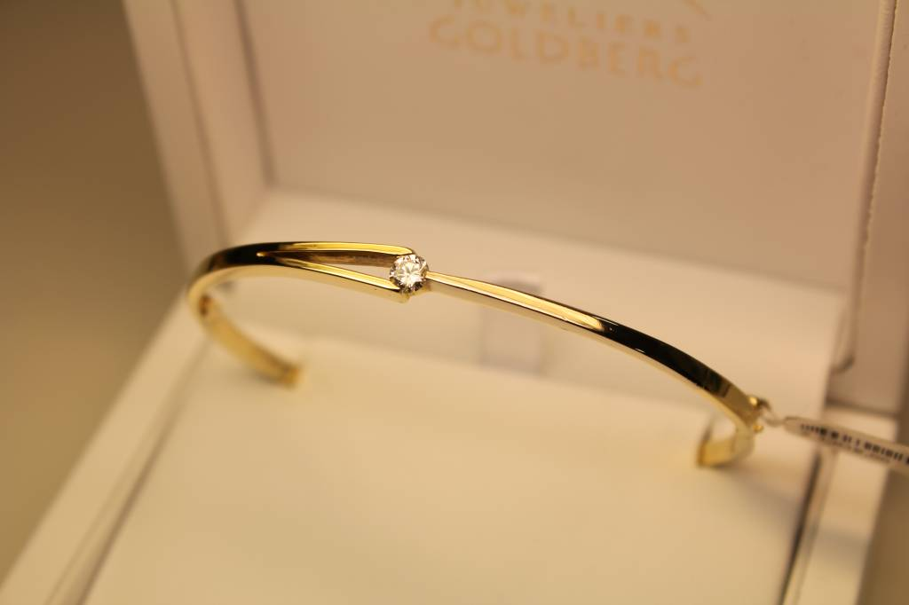 14k gouden slavenband bicolor met 0.23ct briljant