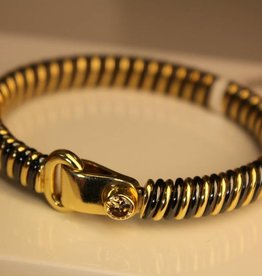 18 carat gold & steel bangle with 0.50ct diamond