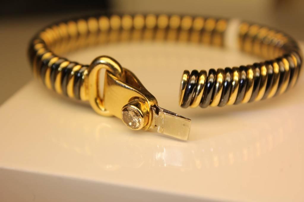 18k gouden & stalen slavenband 0.50ct briljant