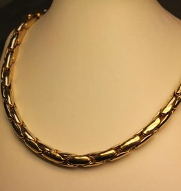 14 carat gold bicolor fantasy necklace 7,5mm
