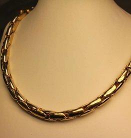 14k gouden bicolor fantasie collier 7,5mm