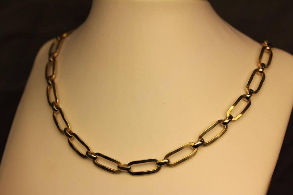 14 carat gold bicolor link necklace goldberg