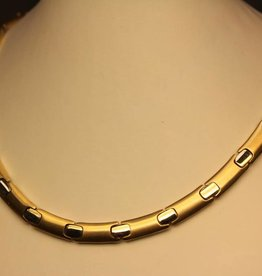 14 carat gold bicolor flat necklace