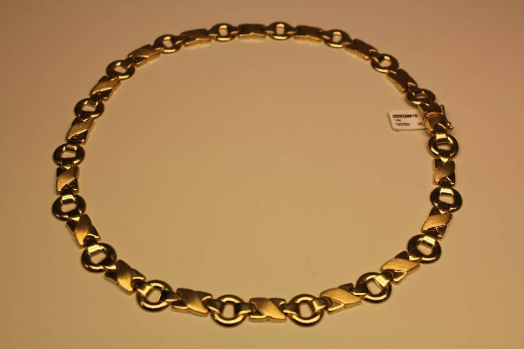 14k geelgouden fantasy collier platte schakel