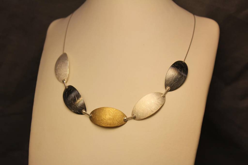 Silver necklace handmade tricolor