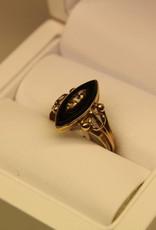 14k gouden antieke ring onyx en diamant 1853-1906