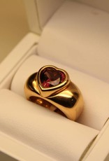 Vintage 18k rose gold Piaget ring with amethyst heart