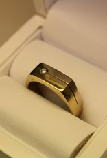 14 carat gold bicolor mens ring with 0.04ct diamond