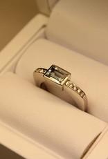 Vintage 14k witgouden ring met aquamarijn en 0.12ct briljant