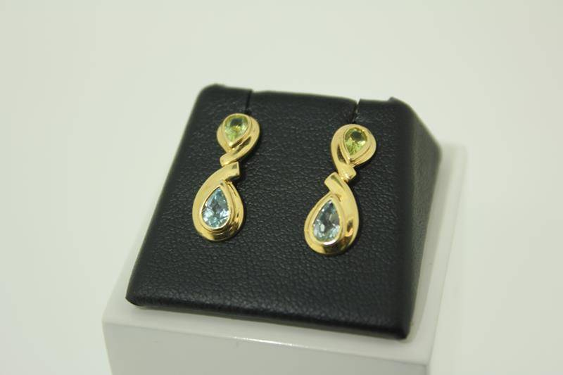 18 carat gold earrings with citrine and aquamarine
