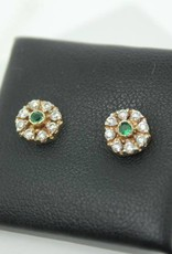 14 carat gold ear studs with zirconia