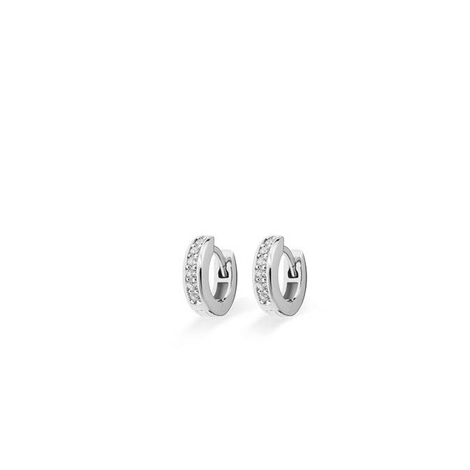 Silver creole earrings with zirconia KCD 3/12mm