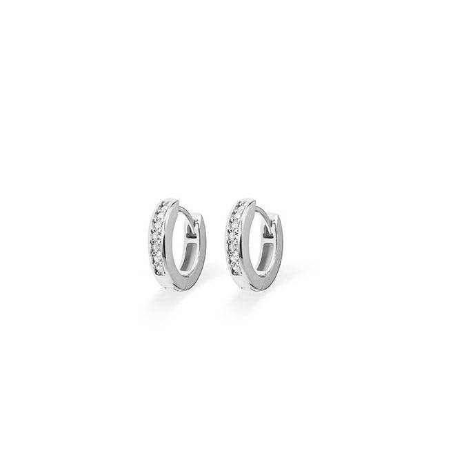 Silver creole earrings with zirconia KCD 3/15mm