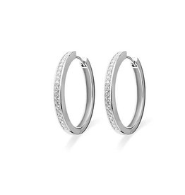Silver creole earrings with zirconia KCD 3/30mm