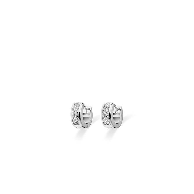 Silver creole earrings with zirconia KCD 5/12mm