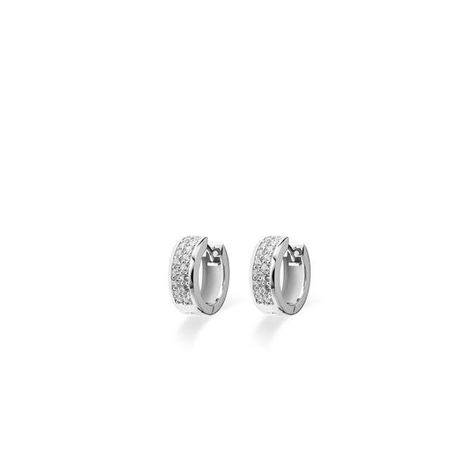 Silver creole earrings with zirconia KCD 5/15mm