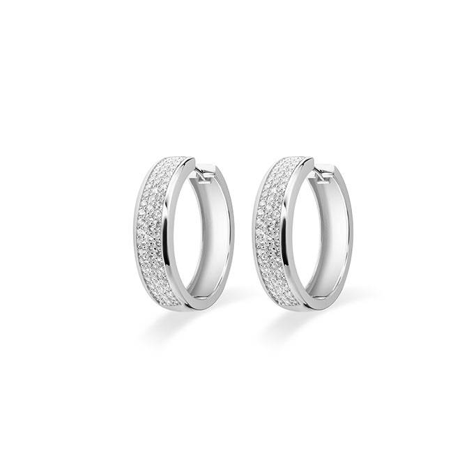 Silver creole earrings with zirconia KCD 7/30mm