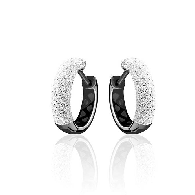 Silver creole earrings black rhodium with zirconia's