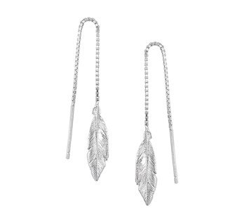 Silver pull through earrings with feather 20mm