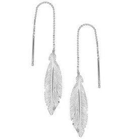 Silver pull through earrings with feather 30mm