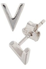 "Silver ear studs with ""V"""