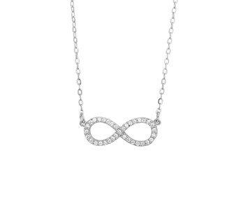 Silver infinity bracelet set with zirconia's