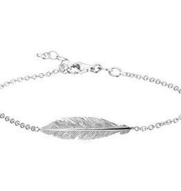 Silver bracelet with feather