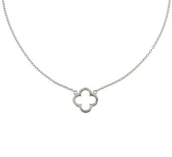 Silver necklace with flower
