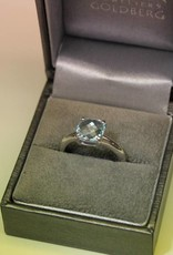 Silver ring with light blue topaz