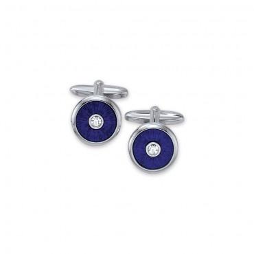 Silver cufflinks dark blue with white zirconia