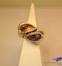 Gold ring with amethyst, citrine and diamonds